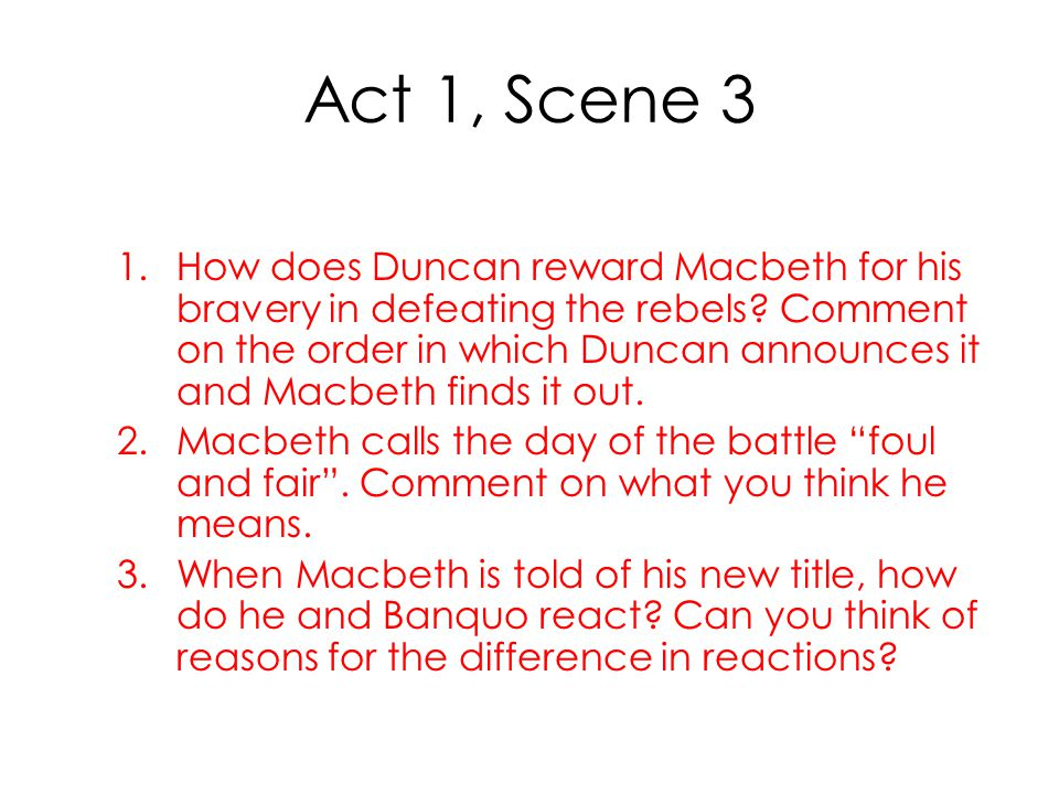 macbeth directing act 2 scenes 1 and 2 essay The transformation in macbeth, act 2 scene 1, shakespeare reveals macbeth's dishonorable state of mind through his passionate diction.