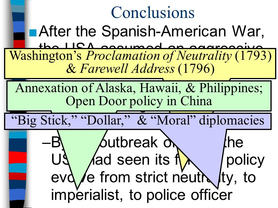 Conclusions After the Spanish-American War, the USA assumed an aggressive foreign policy: