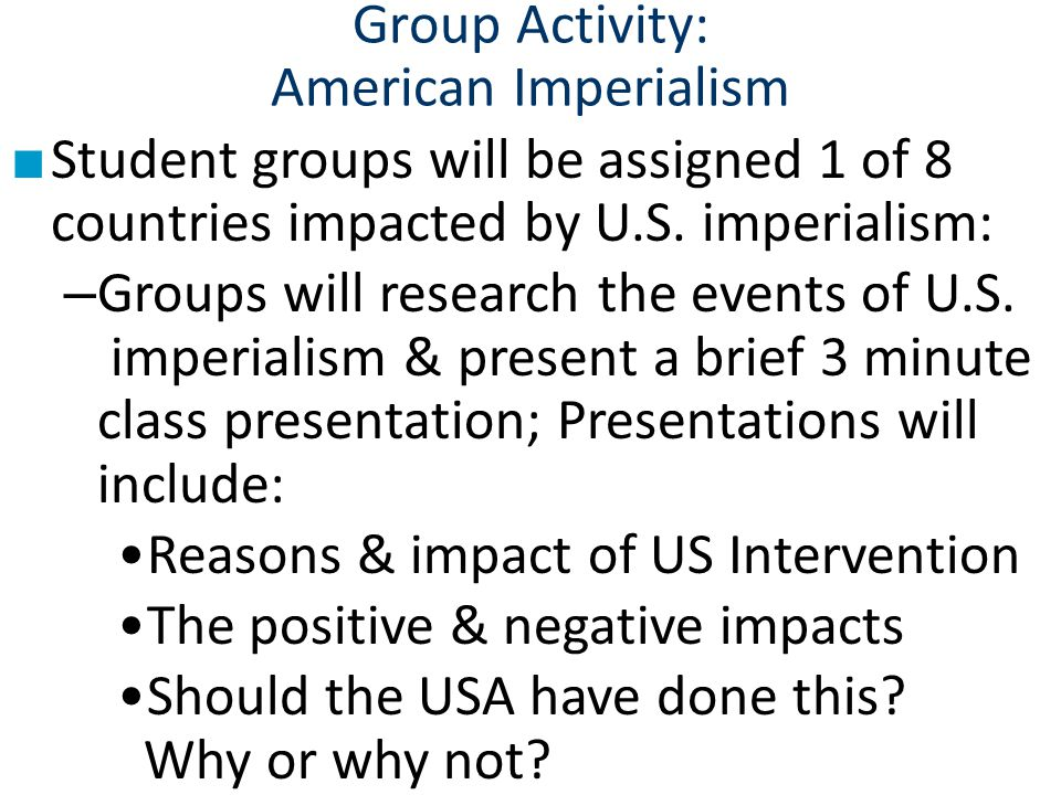 Group Activity: American Imperialism