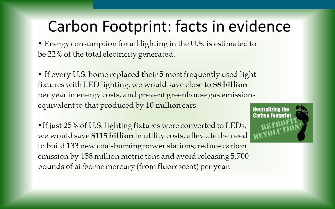 Carbon Footprint: facts in evidence