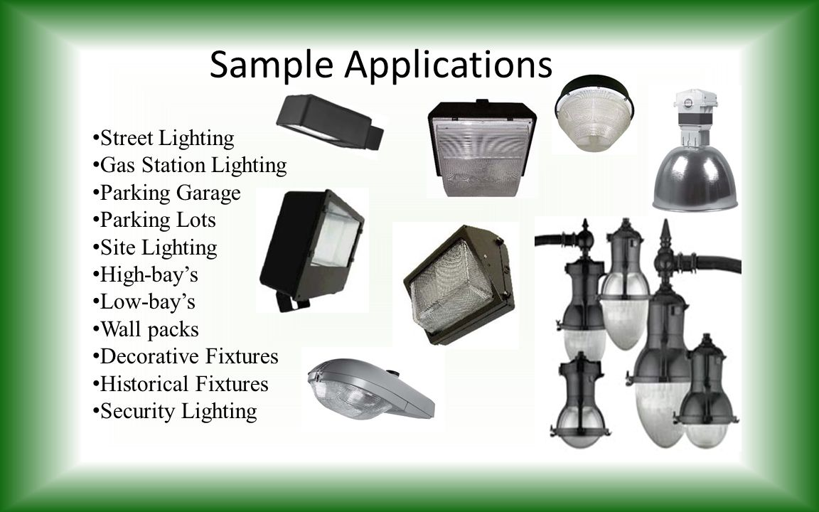 Sample Applications Street Lighting Gas Station Lighting