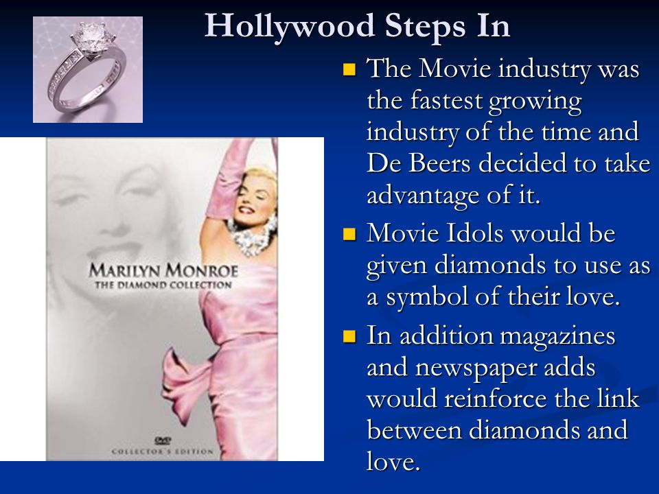 Hollywood Steps In The Movie industry was the fastest growing industry of the time and De Beers decided to take advantage of it.