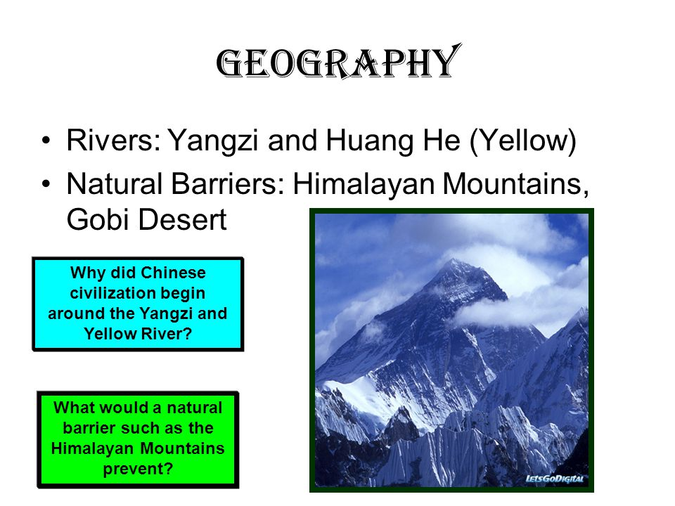 Geography Rivers: Yangzi and Huang He (Yellow)