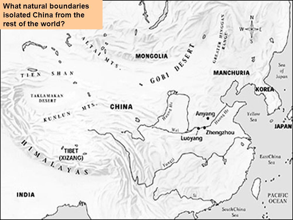 What natural boundaries isolated China from the rest of the world