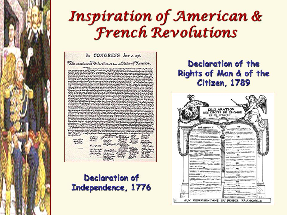 Inspiration of American & French Revolutions