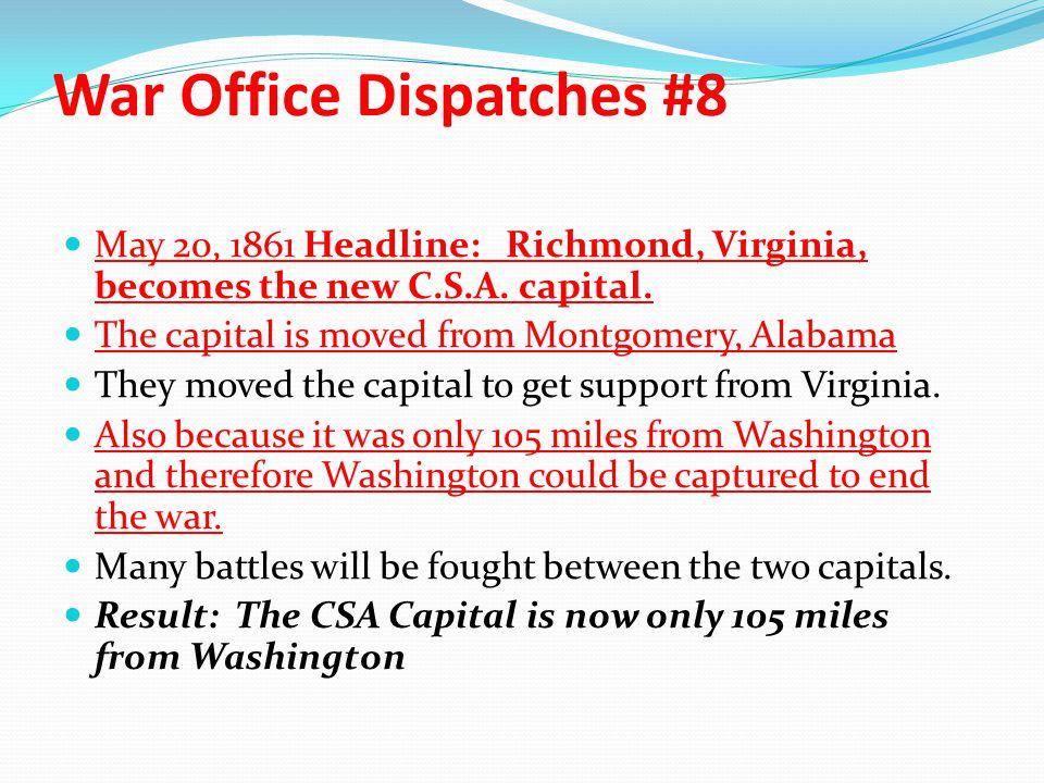 War Office Dispatches #8