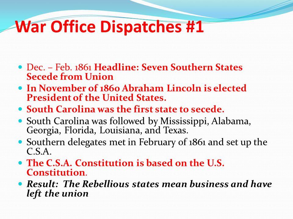 War Office Dispatches #1