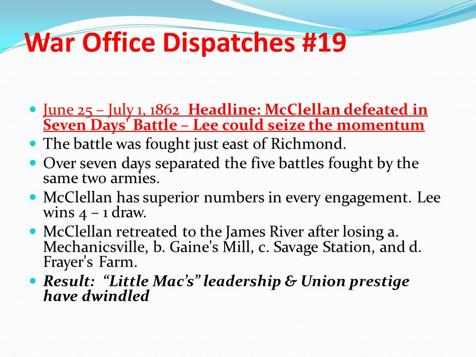 War Office Dispatches #19