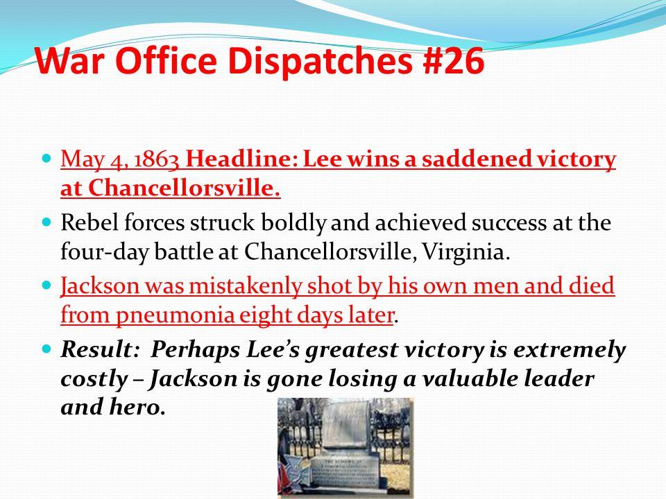 War Office Dispatches #26