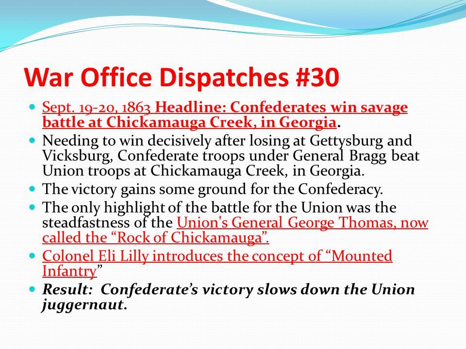 War Office Dispatches #30