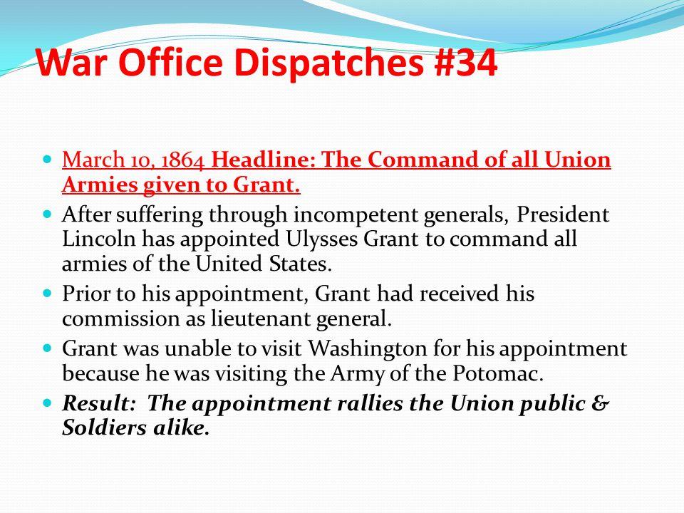 War Office Dispatches #34