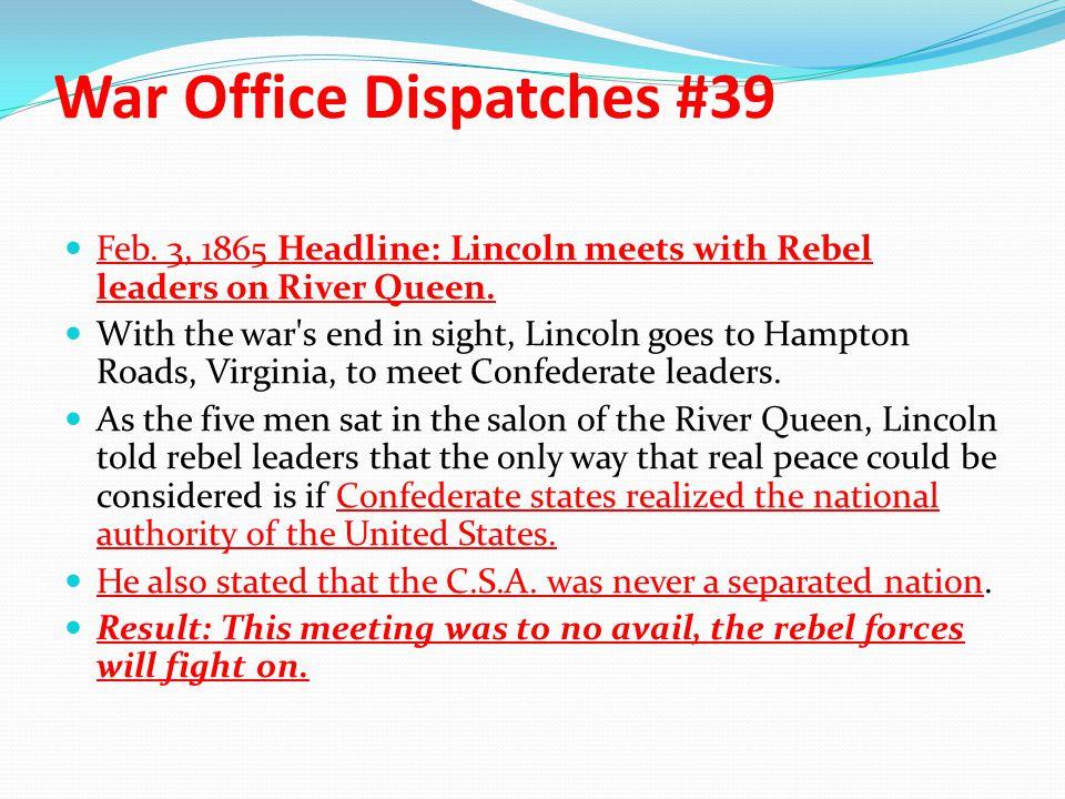 War Office Dispatches #39