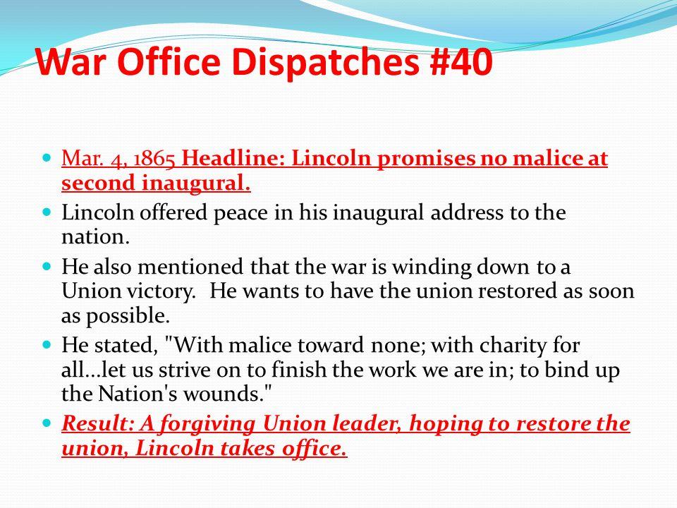 War Office Dispatches #40