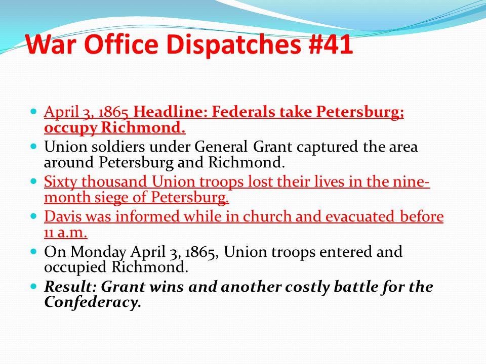 War Office Dispatches #41