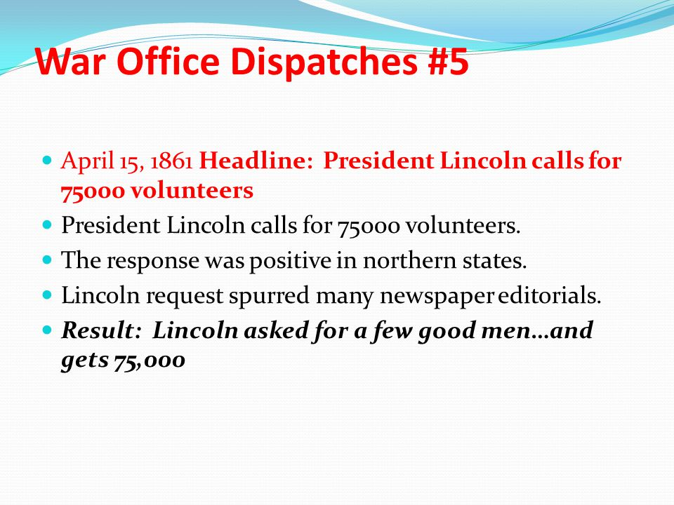 War Office Dispatches #5