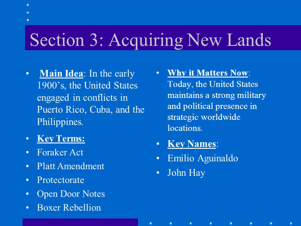 Section 3: Acquiring New Lands