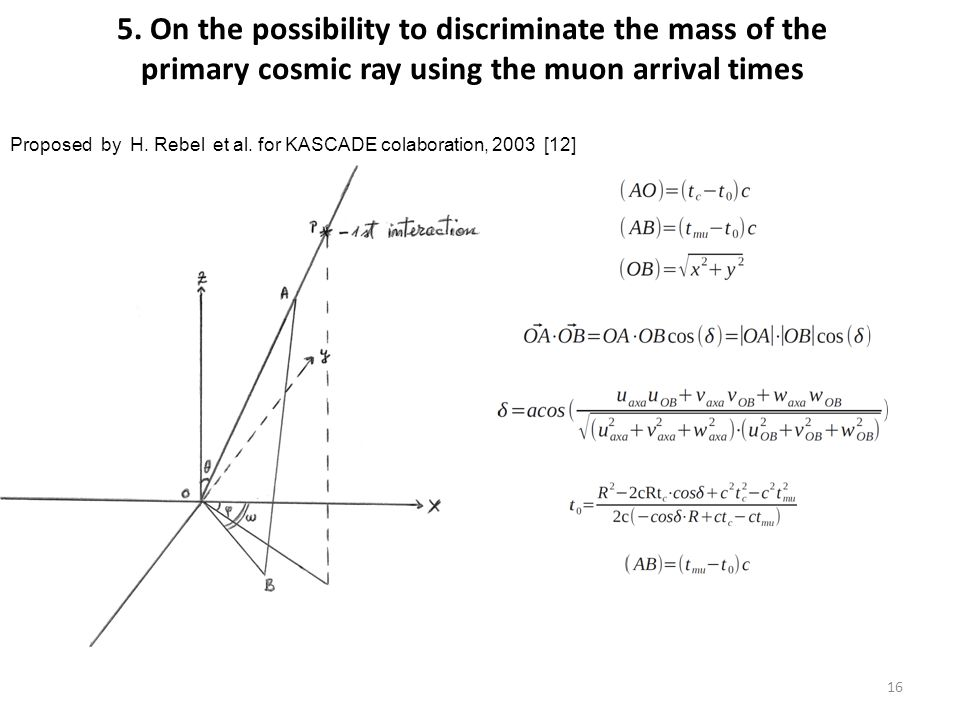 5. On the possibility to discriminate the mass of the primary cosmic ray using the muon arrival times