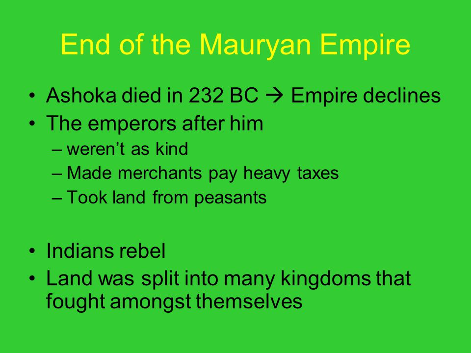 End of the Mauryan Empire