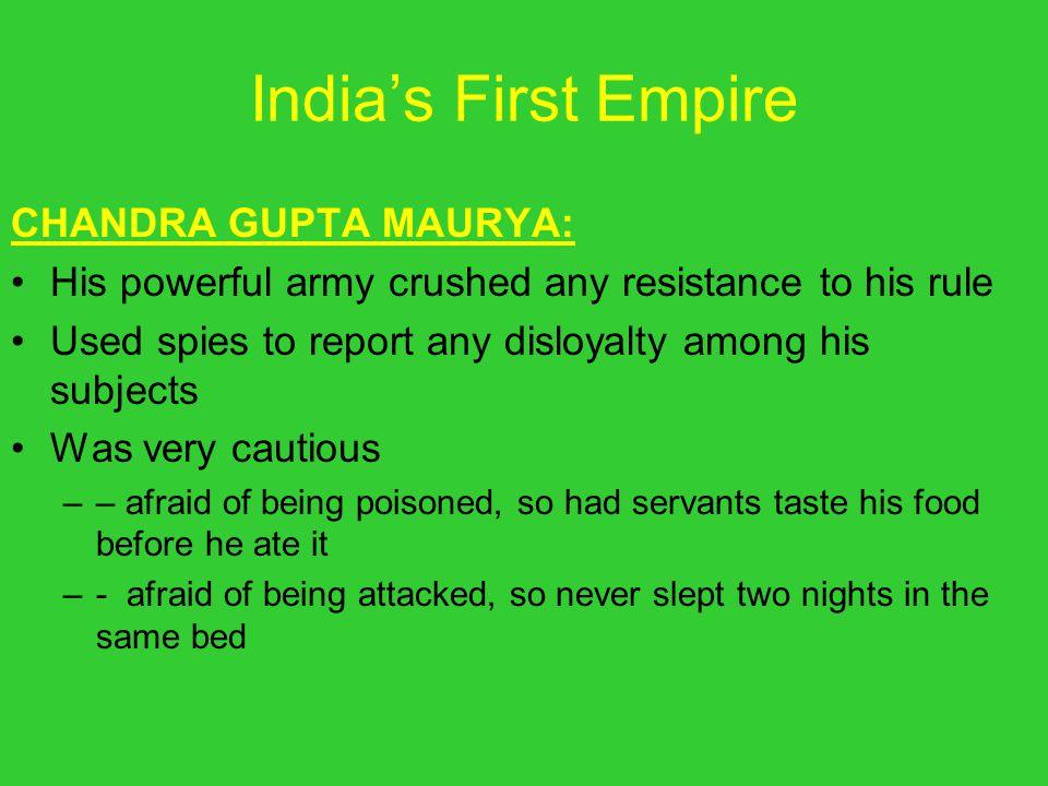 India's First Empire CHANDRA GUPTA MAURYA: