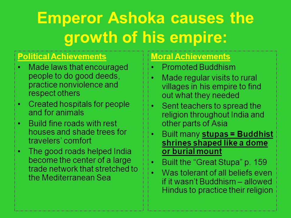 Emperor Ashoka causes the growth of his empire: