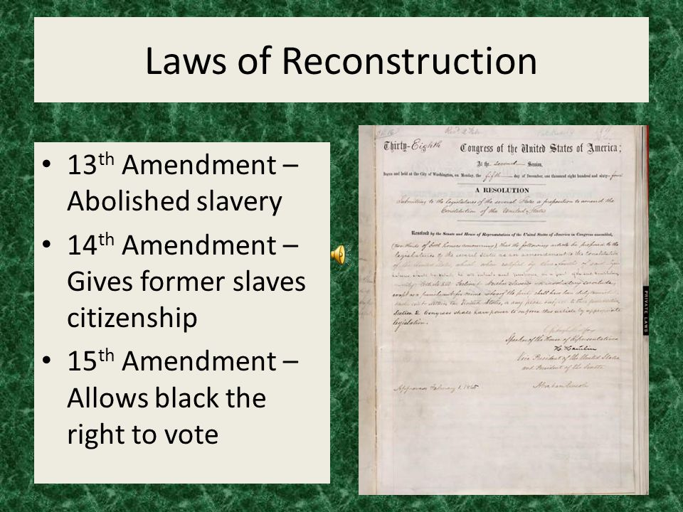 Laws of Reconstruction