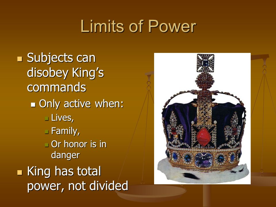 Limits of Power Subjects can disobey King's commands