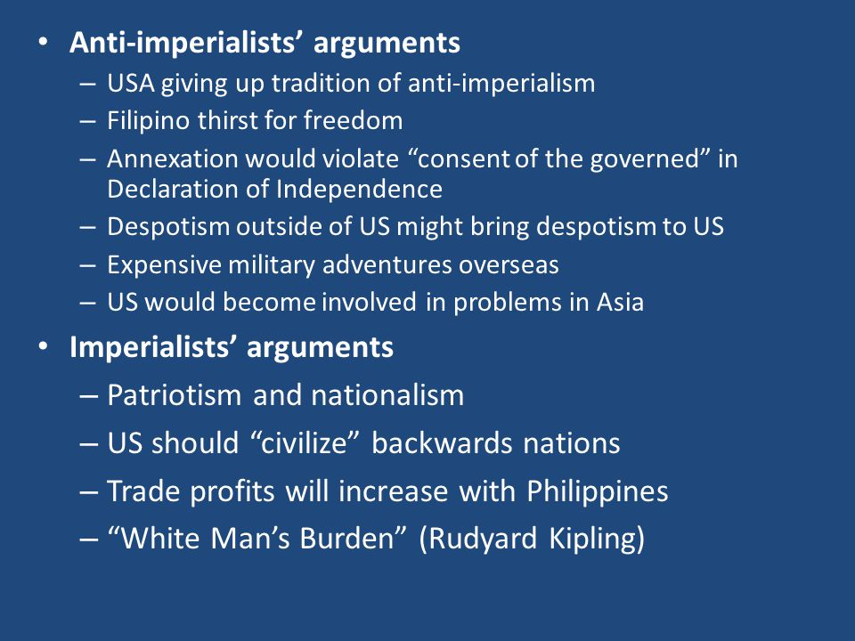 Anti-imperialists' arguments
