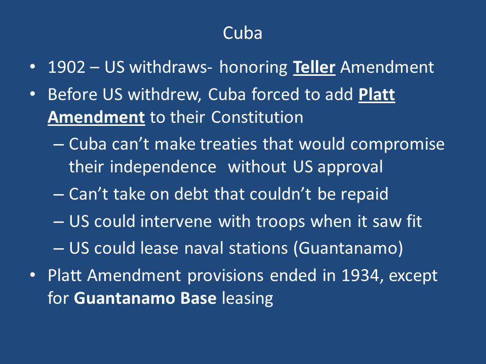 Cuba 1902 – US withdraws- honoring Teller Amendment