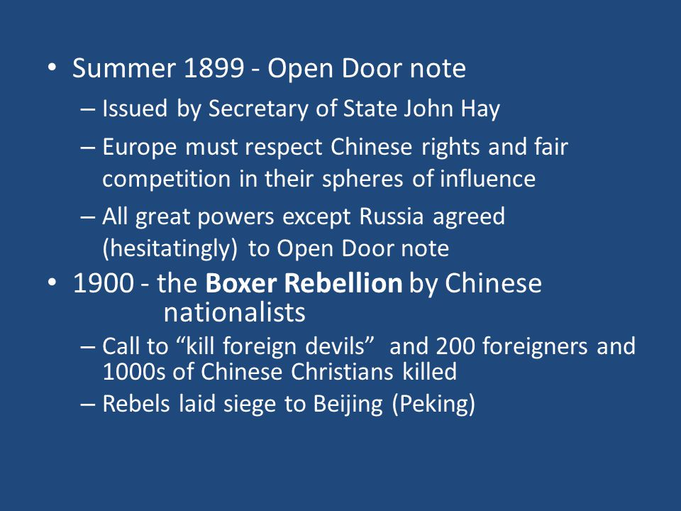 1900 - the Boxer Rebellion by Chinese nationalists