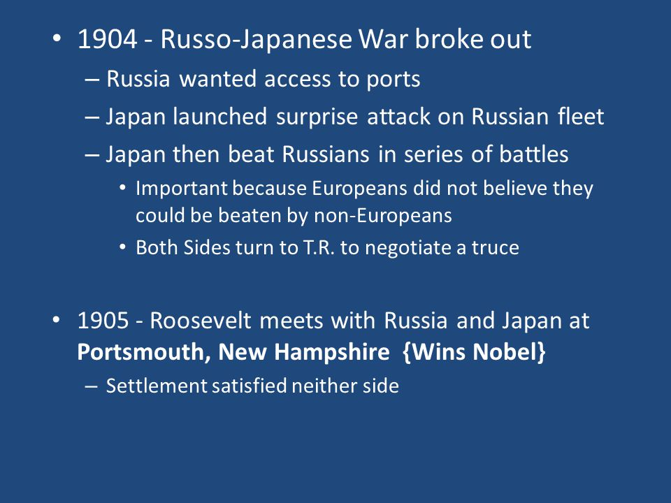1904 - Russo-Japanese War broke out