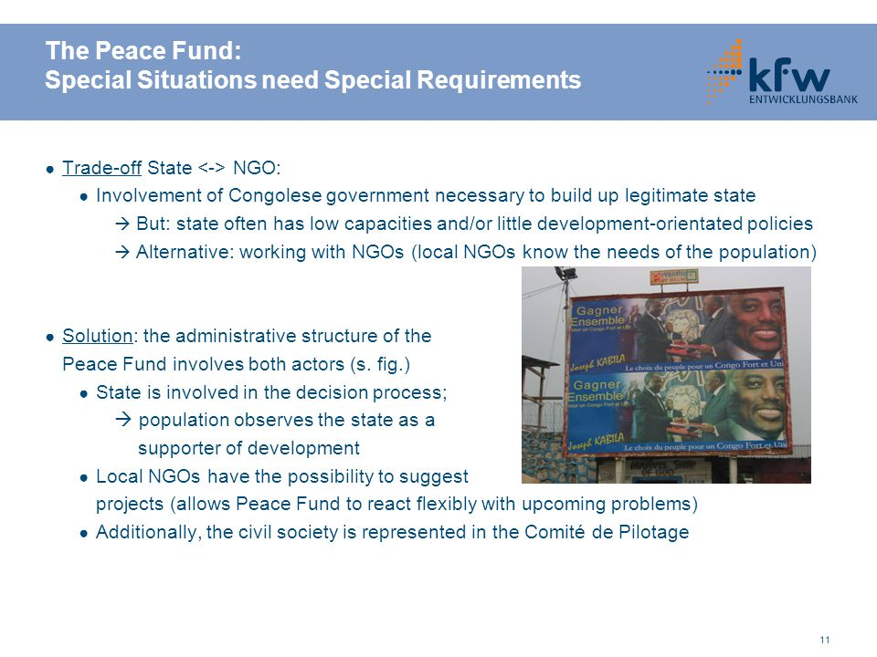 The Peace Fund: Special Situations need Special Requirements