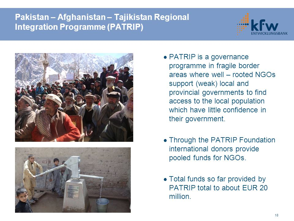 Pakistan – Afghanistan – Tajikistan Regional Integration Programme (PATRIP)
