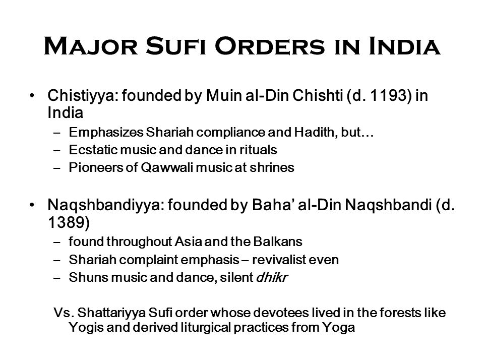 Major Sufi Orders in India