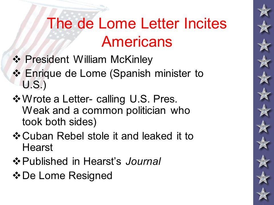The de Lome Letter Incites Americans