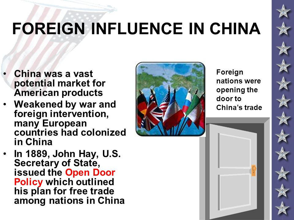 FOREIGN INFLUENCE IN CHINA