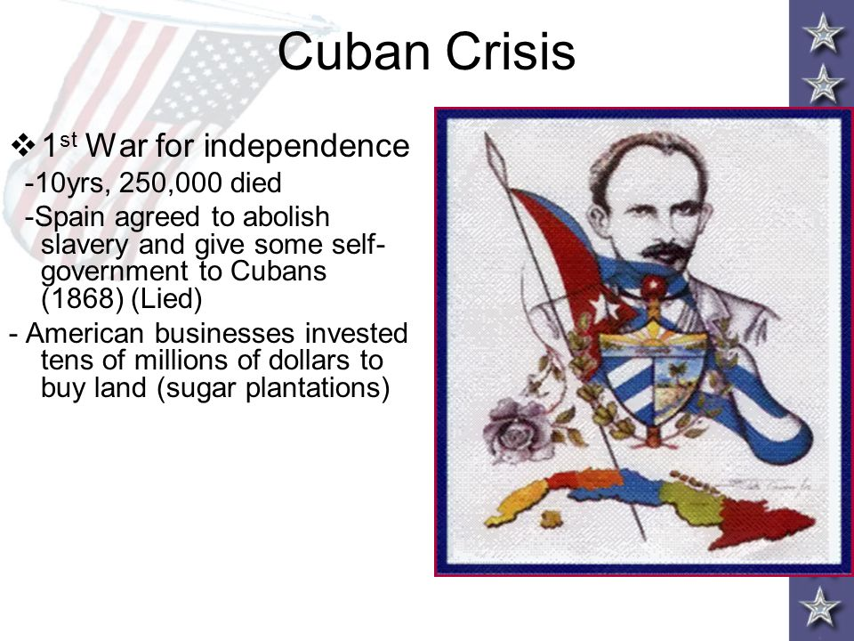 Cuban Crisis 1st War for independence -10yrs, 250,000 died