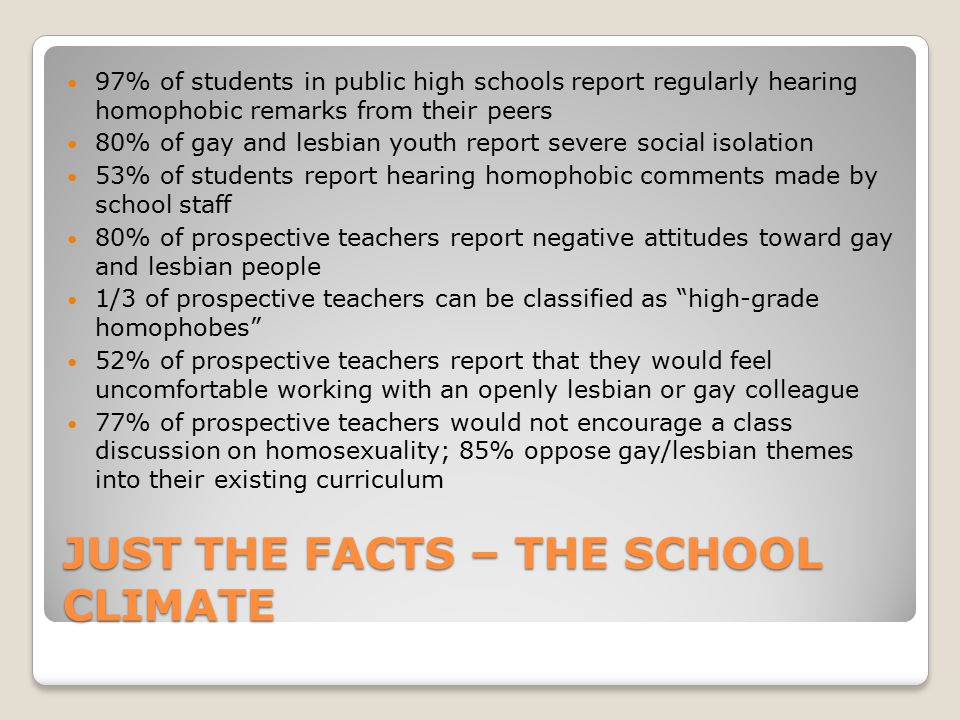 Just the facts – the school climate