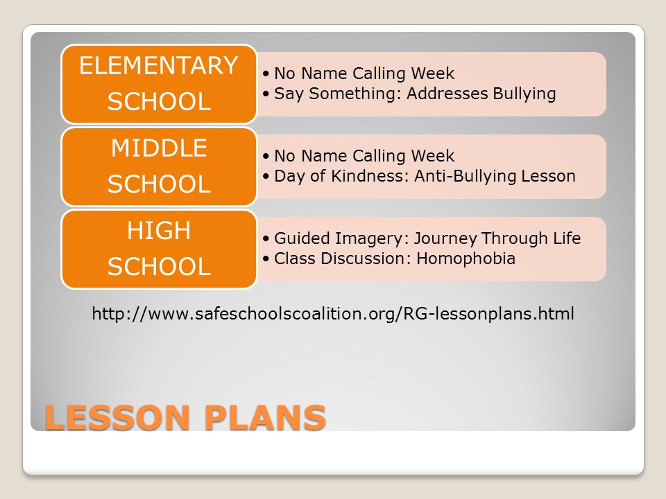 Lesson Plans http://www.safeschoolscoalition.org/RG-lessonplans.html