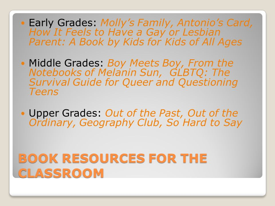 Book Resources for the classroom