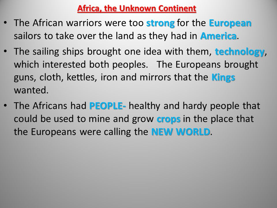 Africa, the Unknown Continent