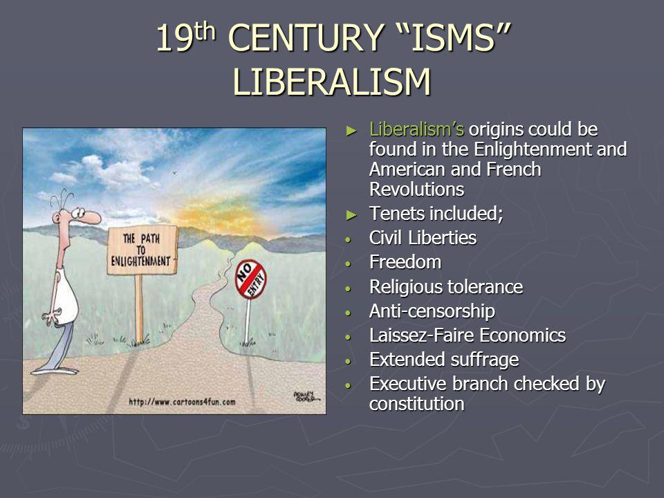 19th CENTURY ISMS LIBERALISM
