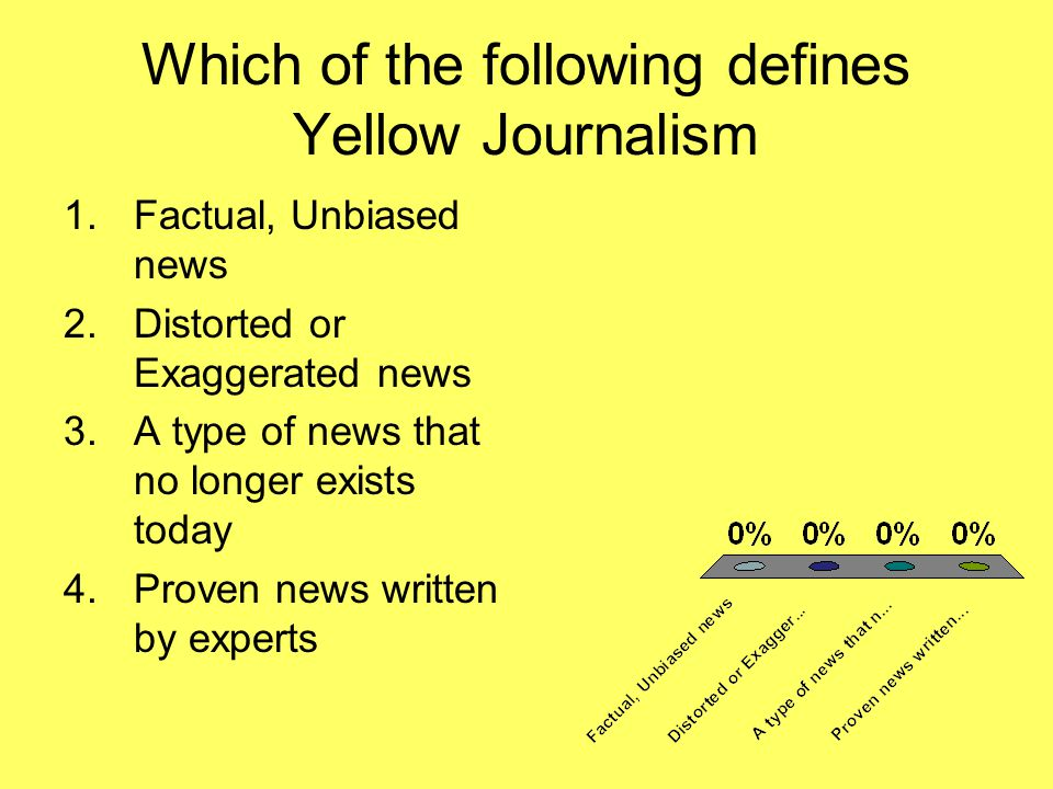 Which of the following defines Yellow Journalism