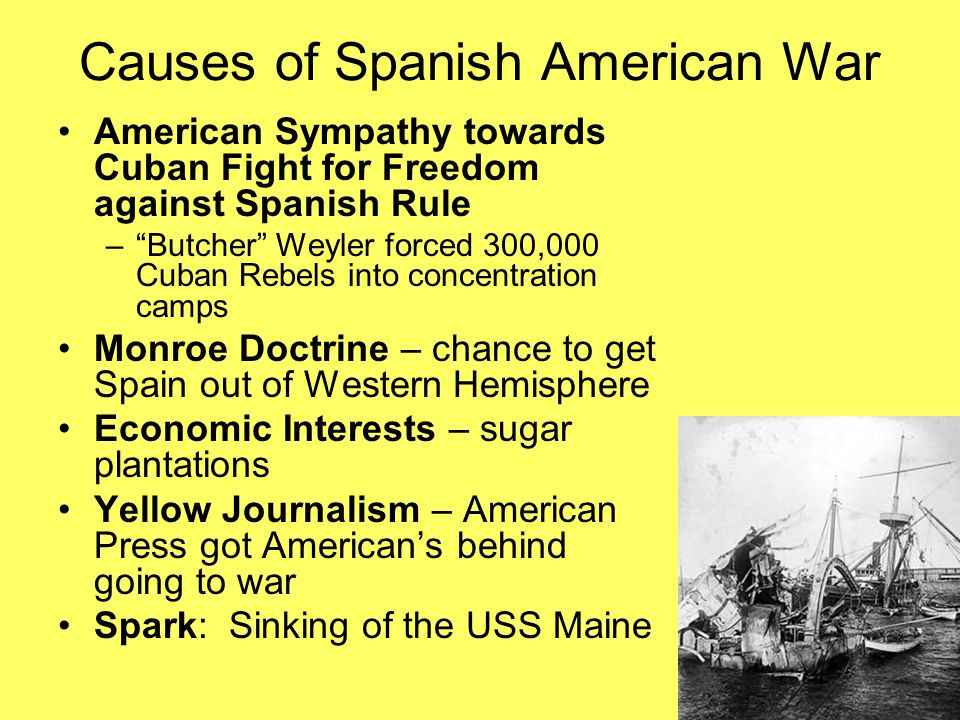 spanish american war the sinking of The term originated in the competition over the new york city newspaper market between major newspaper publishers joseph pulitzer and william randolph hearst.