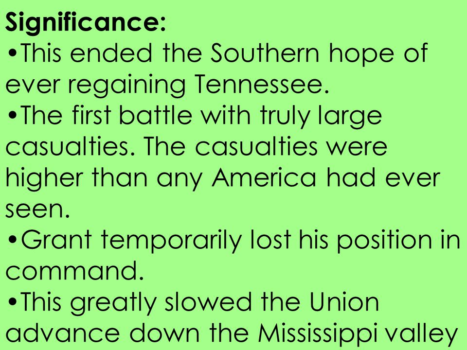 Significance: This ended the Southern hope of ever regaining Tennessee.