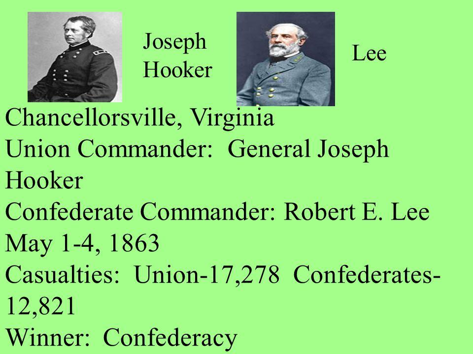 Chancellorsville, Virginia Union Commander: General Joseph Hooker