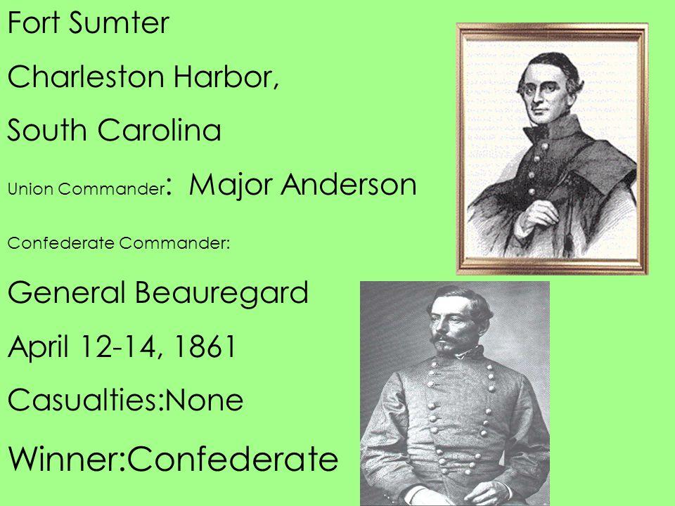 Winner:Confederate Fort Sumter Charleston Harbor, South Carolina