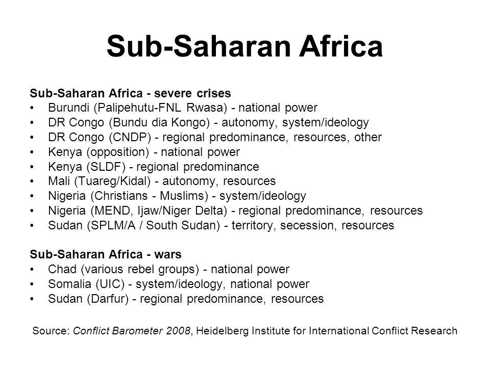 Sub-Saharan Africa Sub-Saharan Africa - severe crises
