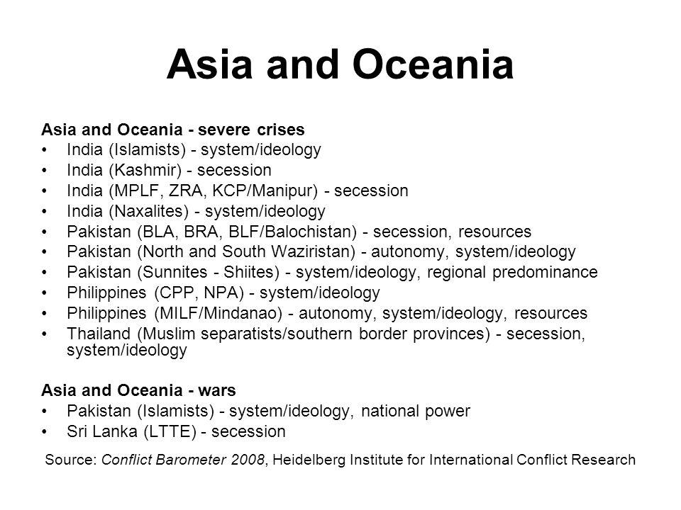 Asia and Oceania Asia and Oceania - severe crises