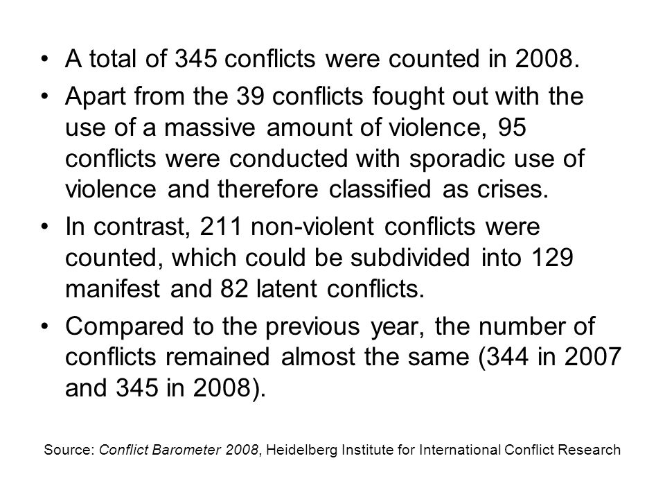A total of 345 conflicts were counted in 2008.