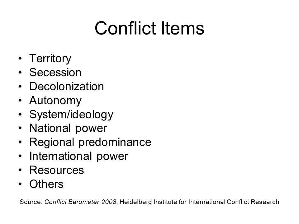 Conflict Items Territory Secession Decolonization Autonomy